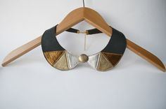 Peter Pan Detachable Black and Gold Leather Necklace by SmArtAnna