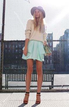 structured pastel skirt with slouchy sweater