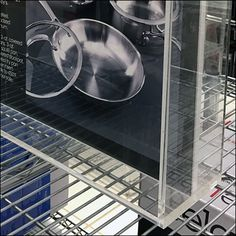 Macys® Cookware department is always a sparkling example of pot and pan presentation (contrast with say, the look of William-Sonoma). Though clear acrylic may not cast much of a shadow, I neverthel… Williams Sonoma, Shadow Box, Clear Acrylic, Close Up, Cookware, Contrast, Presentation, It Cast, Retail