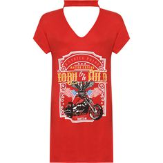 Faith Choker Born To Be Wild T-Shirt Dress (£11) ❤ liked on Polyvore featuring dresses, red, t shirt dress, mini dress, tee shirt dress, mini skirt dress and red mini skirt