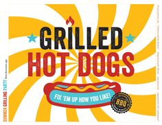 FREE Printables: Summer Grilling Party or BBQ Party // Hostess with the Mostess® Bbq Party, Grill Party, Party Printables, Free Printables, Bbq Signs, Hot Dog Bar, Hot Dog Stand, Scrapbooking, Backyard Bbq