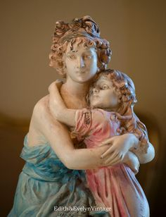 Vintage French Style Mother and Child Statue by edithandevelyn