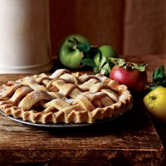 Lattice-Topped Apple Pie | Greg Patent likes to use an assortment of tart and sweet apples in this dense, apple-packed pie.