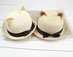 2013 New summer women straw hat in handmade, kawaii cat ears shape straw hat with bowknot band, best summer hat gift for wife/girlfriend via Etsy