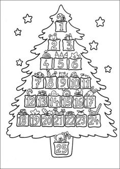 Advent Christmas Tree Coloring Page Colorful Christmas Tree, Christmas Colors, Noel Christmas, Christmas Countdown, Christmas Calendar, Christmas Activities, Christmas Printables, Christmas Templates, Christmas Tree Coloring Page