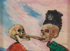 James Ensor, Skeletons Fighting over a Pickled Herring, 1891. Oil on panel. 16 x 21.5 cm. Photo © Musées royaux des Beaux-Arts de Belgique, Brussels. Photography: J. Geleyns - Ro scan / © DACS 2016.