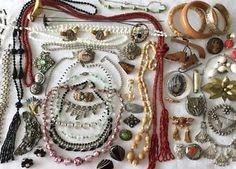 WOW Antique Jewelry Lot Art Deco, Victorian, Old Vintage lot, Czech, Art Nouveau