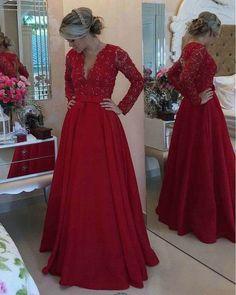 V-neck Long Sleeves Prom Dresses,Red Taffeta Mother of bride Dresses,apd2526