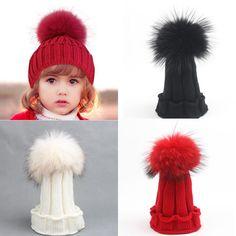 赤ちゃん女の子男の子子の赤ちゃん暖かい冬の雪ニットビーニーアライグマの毛皮ポンポンへま帽子かぎ針編みスキーキャップ新しい2-15y用女性とbabys(China (Mainland))