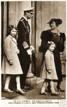 King George VI and Queen Elizabeth with their daughters Crown Princess Elizabeth and Princess Margaret