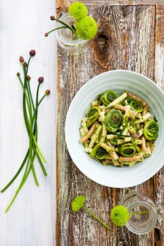 Fiddleheads and chives with Quinoa