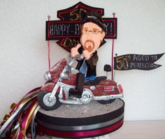Adult party Motorcycle fan!! original from www.kharygoart.com  #motorcycle #birthday #caketopper #partyideas