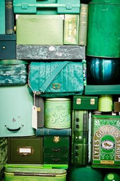 all things green. boxes, tins and golden syrup