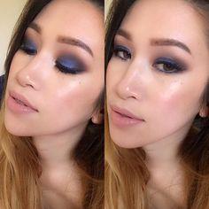 Smokey blue eyeshadow on Filipina/Asian eyes with a nude lip.