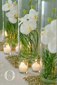 white orchids green votives wedding by color centerpieces