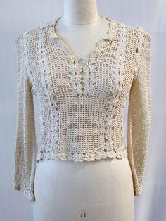 Vintage 1970s Homemade Beige Crochet Blouse by MyDarlingLila, $32.00