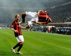 Kevin Prince Boateng doing his signature flip after scoring for AC Milan.