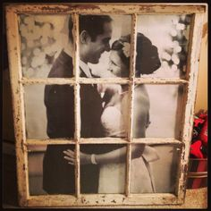 This is a great gift idea for a bride and groom. Take a photo have it enlarged to the window size and mount it in the old window frame.