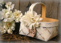Flower Girl Basket Rustic Wedding Decor by MinSvenskaLandgard. $30.00, via Etsy.