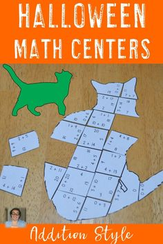 Halloween addition puzzle in the shape of a cat. Halloween Math, Halloween Activities, Math Literacy, Math Classroom, Math Stations, Math Centers, Thinking Skills, Critical Thinking, 2nd Grade Activities