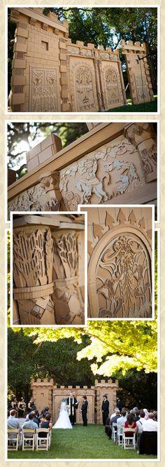 cardboard castle wedding back drop Cardboard Castle, Cardboard Toys, Cardboard Furniture, Cardboard Sculpture, Sculpture Art, Origami, Stage Design, Set Design, Stage Set