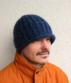 Mens winter hat 100% natural icelandic wool ECO hat Womens Boys handmade  pure wool hat knitted blue cap Cozy warm hat chunky bulky beanie c62179a0179a