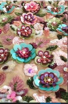 Tambour Beading, Tambour Embroidery, Couture Embroidery, Ribbon Embroidery, Beaded Embroidery, Hand Embroidery Designs, Embroidery Patterns, Sequin Crafts, Bead Sewing