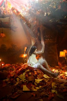 ADRIEN BROOM -The Color Project - Landing in a Pile of Orange Leaves