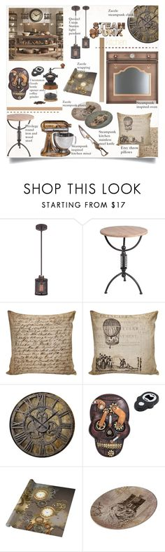 """Steampunk Kitchen"" by alexandrazeres ❤ liked on Polyvore featuring interior, interiors, interior design, home, home decor, interior decorating, Quoizel, Privilege, kitchen and utensils"