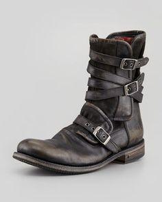 John Varvatos Multi-Strap Buckle Boot, Charcoal on shopstyle.com