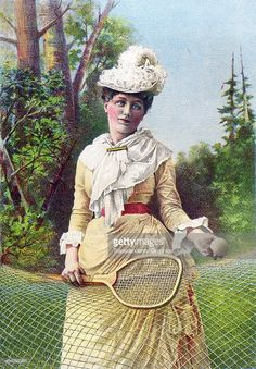 American advertisement - a lithograph trade card, c.1880 NYC. Featuring a Gilded Age era fashioned lady, with tennis racket and tennis ball, in front of net. ~ {cwl} ~ (Getty Images)