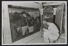 Monuments Man Daniel J. Kern and art restorer Karl Sieber looking at panels of Jan van Eyck's Adoration of the Mystic Lamb. Jan Van Eyck, Johannes Vermeer, Modern World History, Art History, Caravaggio, Rembrandt, Michelangelo, Ghent Altarpiece, Guggenheim Bilbao