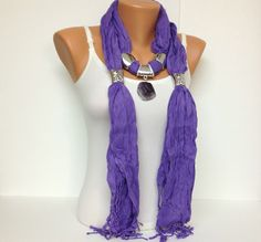 purple jewelry scarf cotton long with natural gemstone pendant Christmas gift or…