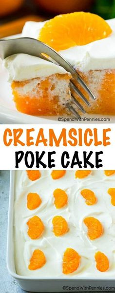 This orange poke cake is a fluffy white cake infused with orange flavor and topped with a quick and easy vanilla frosting making it taste just like our favorite childhood frozen dessert. It's a easy dessert that's a total crowd pleaser and perfect for any summer potluck!