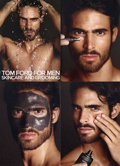 Tom Ford for Men - Skincare  Grooming  Im sorry, but his sexy/serious look with mud is just killing me