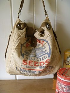 Badger Seeds, Milwaukee, Wisconsin -Vintage Feed Sack Open Tote -Americana OOAK Canvas & Leather Tote. $85.00, via Etsy.