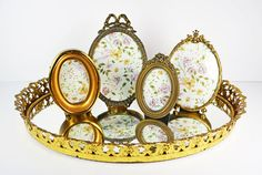 Vintage Small Gold Tone & Brass Oval by TheVintageRoad2Retro