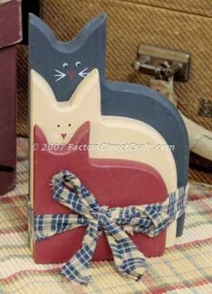 Primitive Americana painted wood cats