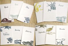 [2013 Letterpress Calendar (in twelve animals...& twelve months). $28.00, via Etsy.]