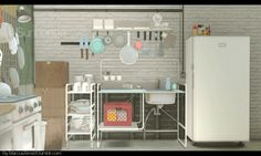 sims 3 cc finds - Sunnersta Here's a kitchen set I. Ikea Hack Kitchen, Mini Kitchen, Wall Racks, Kitchen Wall Rack, Studio Kitchenette, Hipster Kitchen, Ikea Kitchen, Kitchen Sets, Ikea