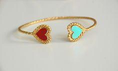 Image of Aqua & Red Heart Bangle