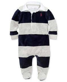 Ralph Lauren Baby Coverall, Baby Boys Striped Velour Coverall - Kids - Macy's $35
