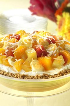 Check out Dole's Polynesian Sunshine Pie. Explore this recipe and many more on the new Dole Sunshine website where fresh creations are never far away! Sweet Desserts, Delicious Desserts, Yummy Food, Pastry Recipes, Baking Recipes, Pie Recipes, Healthy Recipes, Pie Dessert, Dessert Recipes