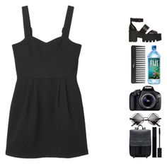 """""""Black Obsession"""" by ashola18 ❤ liked on Polyvore featuring Monki, Windsor Smith, Sephora Collection, Eos, Gucci, black, makeup, sandals and Sheinside"""