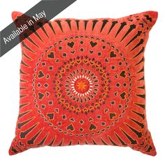 Mayan Sphere Orange Lounge cushion 55x55cm - Bandhini Homewear Design