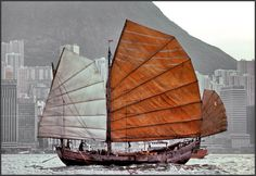 by Chinese Junk Chinese Boat, Junk Ship, British Hong Kong, China Map, Victoria Harbour, Cool Boats, Ireland Landscape, Website Color Palette, Model Ships