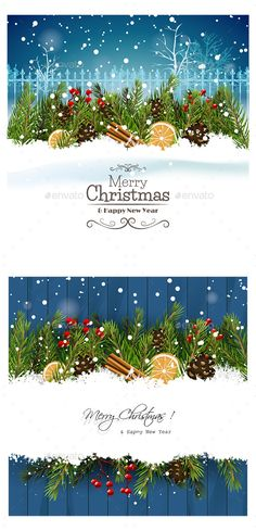 2 Christmas Card by richard_dcc Christmas Element. Fully editable and customizable. EPS Perfect for all kind of uses. Need PSD? Mail me! Christmas Flyer, Christmas Poster, Christmas Banners, Christmas Templates, Christmas Background, Christmas Greeting Cards, Christmas Design, Christmas Greetings, Christmas Fun