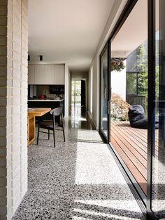 Alphington House by InForm - Terrazzo Flooring Polished Concrete Kitchen, Polished Concrete Flooring, Granite Flooring, Kitchen Flooring, Terrazo Flooring, Floor Design, House Design, New Homes, Interior Design