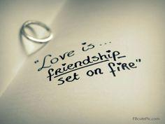 Love is friendship set on fire! I wanna set it ablazezzzzzze!!!