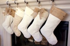 Burlap stockings - white and burlap with cute embellishments.